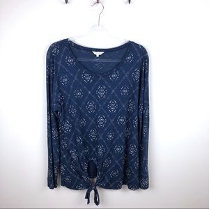 Lucky Brand Blue Long Sleeve Tee Tie Front Large L